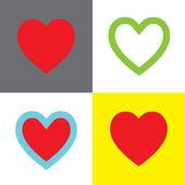 Símbolos de forma de corazón — Vector de stock