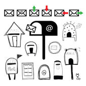 Mail boxes and post boxes set — Stock Vector