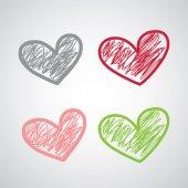 Color drawn hearts set — Stock Vector