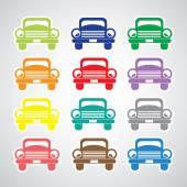 Basic car icon set — Stock Vector