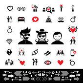 Wedding and valentine icons — Stock Vector