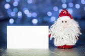 Santa Claus or Father Frost with white blank card — Stock Photo