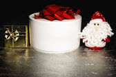 Santa Claus or Father Frost with gift boxes or presents — Stock Photo