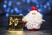Santa Claus or Father Frost with gift box or present — Stock Photo