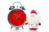 Santa Claus or Father Frost and retro alarm clock — Stockfoto