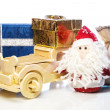 ������, ������: Santa Claus with wooden car gift boxes and sack