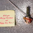 Christmas snowman clothespins and greeting note card — Stock Photo #59664837