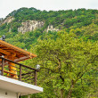 Terrace on roof with view on mountains in Korea — Stock Photo #65758899