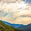 Mountains landscape and cloudy sky with sunbeams in Korea — Stock Photo #65762715
