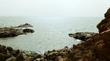 Wild stone a pobřeží nebo pobřeží moře nebo oceánu — Stock video