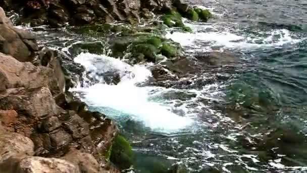 Waves on wild rock near the ocean or sea — Vidéo