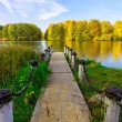 Постер, плакат: View from Dock on Lake and Multicolored Trees in the City Park i