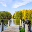 Постер, плакат: View from Dock on Lake and Multicolored Trees in the Urban Park