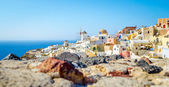 Panorama view at Santorini architecture and old ruins — Stock Photo