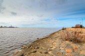 Coastline of Daugava river near Riga port, Latvia — Stock Photo
