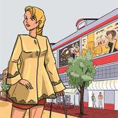 Blonde girl in autumn raincoat — Stock Vector