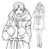 Series - Woman in fur coat. — Stockvector
