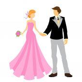 Elegant bride and groom — Stock Vector