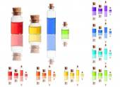 Color liquid in bottles with cork isolated on white background — Stock Photo