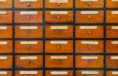 Apothecary wood chest — Stock Photo