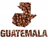 Guatemala map and word coffee beans — Stock Photo