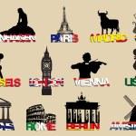 Symbols og different landmarks — Stock Vector #67532541