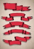 Ретро красный баннеры — Cтоковый вектор