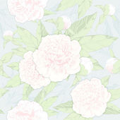 Seamless pattern peonies and buds — 图库矢量图片
