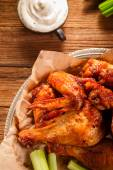 Roasted wings with sauce — Stockfoto