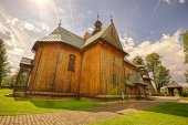 Wooden Parish Church of the Immaculate Conception in Spytkowice, — Stock Photo