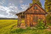 Discarded wooden cabin — Stock Photo