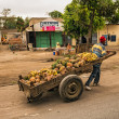 African man pulling a cart full of fruit — Stock Photo #60054093