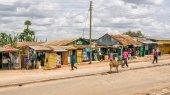 Shopping street in Namanga, Kenya — Stock Photo