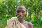 Portrait of a young boy from the african tribe Suri — Stock Photo