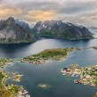 Panorama of  mountains and  Reine in Lofoten islands, Norway — Stock Photo #77913800