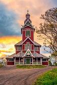 Sunrise above Buksnes Church in Ballstad, Norway — Stock Photo