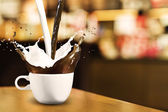 Coffee and Milk Splash — Stock Photo