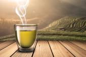 Glass of Hot Tea on Wood Table — Stock Photo