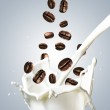 Coffee Beans Falling Into Glass of Milk — Stock Photo #64741119