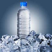 Cold Water Bottle On Ice Cubes — Stock Photo