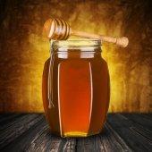 Honey Drip From Dripper to Jar — Stock Photo