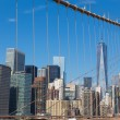 skyline van New york van brooklyn bridge — Stockfoto #52622041