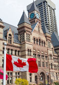 Old City Hall and Canadian Flag — Stock Photo