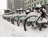 Bike Share Toronto Bikes Covered in Snow — Stock Photo