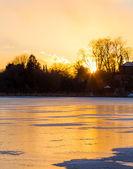 Frozen Lake at Sunset — Fotografia Stock