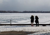 People Looking out at Lake Ontario in the Winter — Stock Photo
