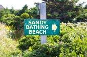 Sandy Bathing Beach Sign — Stock Photo