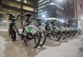 Bike Share Bikes Covered in Snow in Toronto — Stock Photo