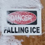 Danger Falling Ice Sign — Stock Photo #69114707
