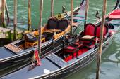 Gondolas docked — Stock Photo
